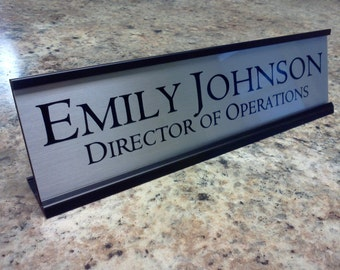 Personalized Desk Name plate nameplate Silver with Black Metal Holder 2 x 8 inches