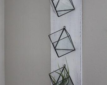 Set Of 3 Hanging Planters Geometric Glass Terrarium Wall Mounted Air Plant Succulent Holder Indoor Planter Vertical Garden Rustic Decor