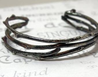Sterling Silver Woodlands Cuff Bracelet  Silver Branch Bracelet  Rustic Silver Cuff Bracelet  Silver Woodlands Unisex Bracelet