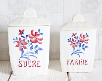 Set of 2 Vintage French SAINT-AMAND Ceramic Canisters || Shabby chic Floral Decor Box - Antique Country Kitchen - French Retro Kitchen Decor
