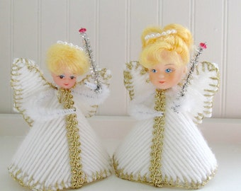 Vintage Handmade Christmas Angels, Yarn Plastic Canvas, Kitsch Angel Tree Toppers, Bottle Brush