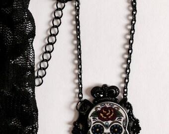 Day of the dead necklace Sugar Skull Necklace Cameo Calavera Pastel Goth Creepy Cute Emo Grunge