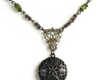 Victorian Style Locket Necklace, Vintaj Brass Pendant Necklace, Lilac Olive Green, Edwardian Style, Romantic Antique Style,