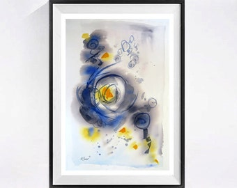 Abstract Artwork, Fine Art, Contemporary wall decor, Giclee Print, Available, Archival, Modern watercolor, Grey print, Blue painting, Yellow