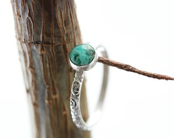 Silver Turquoise Stacking Ring Eilat Sterling Silver Minimal Dainty Ring Gemstone Ring Birthstone Ring Blue Ring Gift for Mom Solitaire Ring