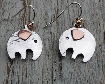 elephant earrings, silver elephant earrings, silver and copper elephants, elephants