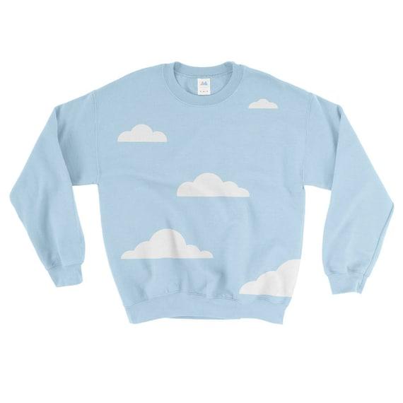 Merrimaking Cloud Sweatshirt. Cheerful blue sweatshirt, featuring soft, white, flocked clouds.