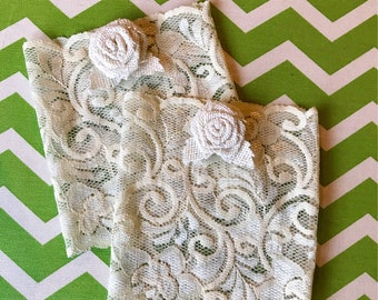 Ivory Lace Boot Cuffs with Ivory Burlap Rose