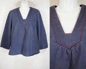 Vintage 60's KARI Denim Tunic Top L