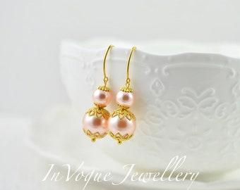 Bridesmaids Gold Swarovski Peach Pearl Jewellery, Wedding Jewellery, Swarovski Pearls Bridal Earrings Jewelry, Brides Bridesmaids Earrings