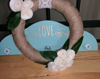 Burlap Wreath decorated with Felt Flowers and Lace