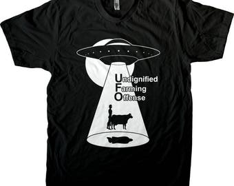 UFO - Alien Abduction with Cow, Men's and Women's Tee or Tank Top.  The truth is out there. Flying saucer cow. Screen Printed, not vinyl!