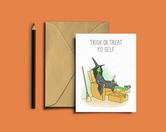 Halloween Greeting Card, Trick or Treat Yoself, Witch, Funny Card, Humor, A6