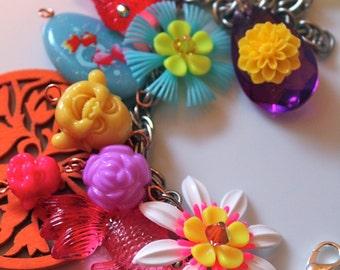 Buddha Charm Bracelet, Flower Bracelet, Vintage Flower Bracelet, Koi Fish Bracelet, Koi Fish Jewelry, Vintage Plastic Flowers