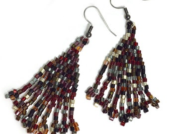 Wine Color Jewelry Red Tassel Earrings Bohemian Womens Dangling Drop Earring Jewellery Gypsy Boho modern minimalist Beaded Metallic Dark