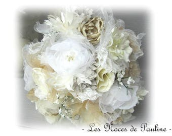 Ivory, white bridal bouquet, burlap lace, fabric flowers, bouquet Lord accessory handmade