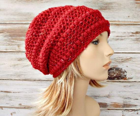 Red Slouchy Hat Crochet Hat Womens Hat - Penelope Puff Stitch Slouchy Beanie Crochet Hat - Venetian Red Tweed Red Hat - READY TO SHIP