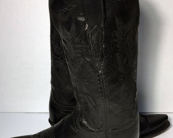 LUCCHESE Black Leather Western Cowboy Cowgirl Boots Women's Size 8