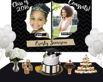 Graduation then and now Photo Personalized Backdrop - Congrats Grad Cake Table Backdrop Birthday- Class of 2017 Photo Backdrop