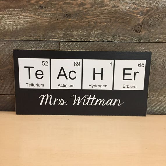personalized teacher sign science teacher gift year end gift periodic table geek decor chemistry teacher biology teacher gifts school - Periodic Table Name Plate