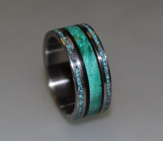 Teal Elder Burl Ring