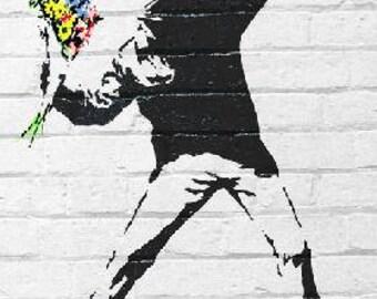 """Banksey - Flower Bomber - 24x36"""" Poster"""