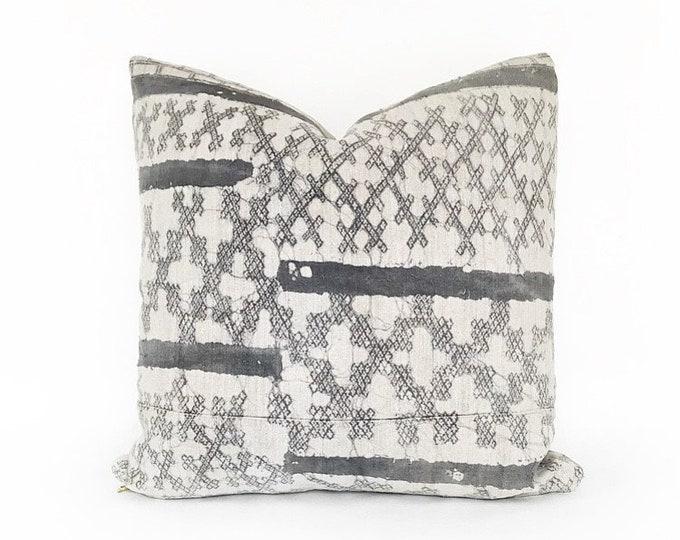 Vintage Gray Batik Hemp Hmong Hill Tribe Pillow Cover 18x18