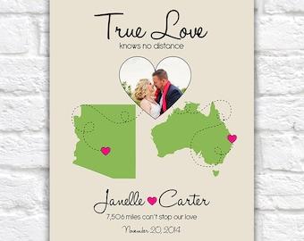 Photo Map, Custom Wedding, Engagement, Anniversary Gift Idea -  Custom Print, Any Photo, Locations, Maps -  Long Distance Relationships