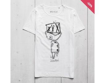 Man Graphic tee Printed t shirt White Organic Cotton - Fish