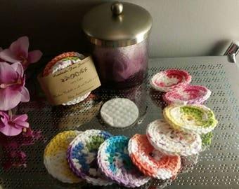 Crocheted face scrubbies, 100% cotton, facial scrubbies, reusable makeup pads, cotton face pad, skincare set, stocking stuffer