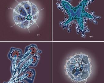 Aquarium Themed Art - Beachy Beachy Beach - Indigo Edition - Set of 4 outerwordly 8x8 prints - Sea Urchin, Barnacle, Starfish, Coral,