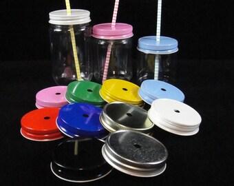Mason Jar Straw Hole Lid, Mason Jars, Plastic Mason Jars, Kids Parties, Weddings, Baby Showers, Mason Jar Lids - 12 Lids ONLY