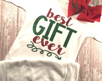 BEST GIFT EVER Gown, newborn Christmas outfit, personalized hair bow, new baby outfit
