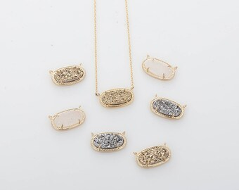 9mmx16mm White Rough Surface Elliptical druzy Connector, Making Necklace Polished Gold Plated -1 Pieces [C0390-PGWH]