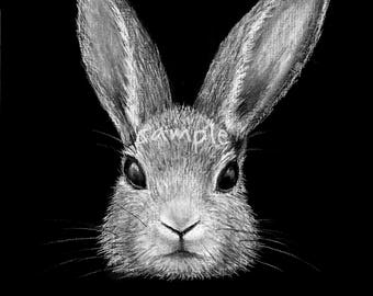 RABBIT Charcoal Drawing | Print | Decor | Animal | bunny | Chalkboard | Black White | Neutral | Minimalist | Nursery | Gift | Wall Art