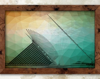"Colorful Calatrava - Milwaukee Print - 17x11"""