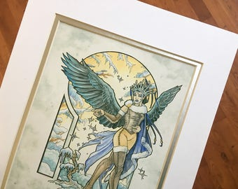 Double Matted Art Print Angel of Winter Art Nouveau Angels of the Season Series Winged Woman Winter Goddess with Raven Wings and Snowflakes