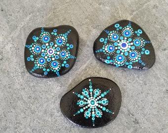 Hand-painted mandala rock set #31