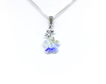 Necklace silver Sterling and Swarovski Aurora Borealis Dragonfly pendant.