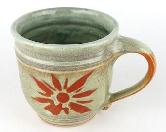 Stoneware Mug - 16 oz. Mug - Coffee Cup - Latte Mug - Tea Cup - Soft Green Mug - Terracotta - Pottery Mug Handmade wheel thrown pottery