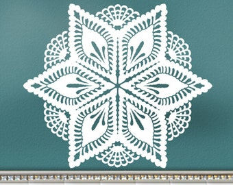 Wall Decal: Pineapple Victorian Crochet Doily Art Design, Romantic Bedroom Decor, DIY Home