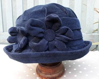 Navy cloche hat, navy blue cloche hat, blue winter hat, blue 1920s hat, blue flower cloche hat, warm blue hat, blue winter hat, gift for mom