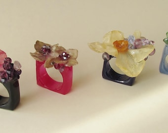 Real Flower, Flower Pastille Rings, Square Rings, Preserved Flower Jewellery, Handmade