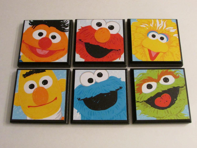 Sesame Street Kids Room Wall Plaques Set of 6 Sesame Street