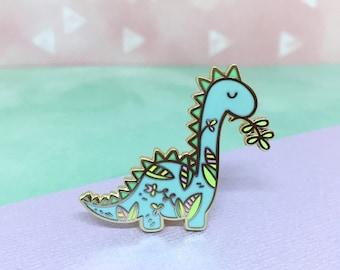 Floral Dino - Hard enamel pin, cute dinosaur pin, kawaii dino lapel pin, cute dino pin, dinosaur gift, dinosaur baby shower gift, dino party