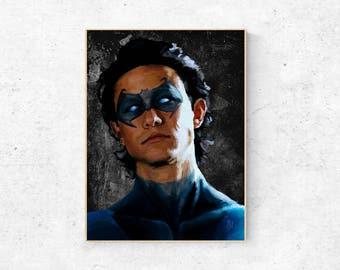 THE DARK KNIGHT Inspired Painting of Joseph Gordon Levitt as Nightwing - 8x10 Portrait, Batman Movie, Gritty, Home Gift, Superhero
