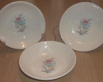 """3 STEUBENVILLE FAIRLANE POTTERY 5 1/2"""" Dessert Berry Bowls Vintage"""