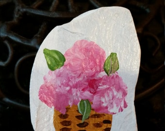 Hand Painted Slate Brooch with Pink Hydrangeas in Cape Cod Basket on White Background