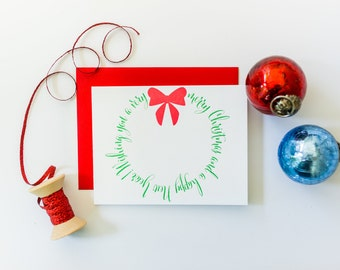 Merry Christmas and Happy New Year Wreath Letterpress Card
