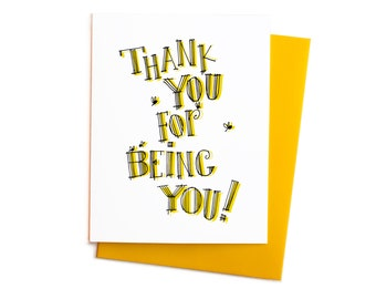 Thank You For Being You, Thank you Bumble Bees, Yellow and Black Bees, Boxed Set of Thank You Notes